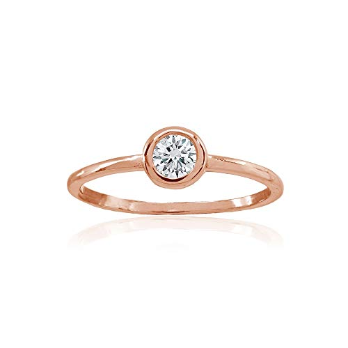 (Rose Gold Flashed Sterling Silver Polished Cubic Zirconia Round Bezel-Set Stackable Band Ring, Size 6)