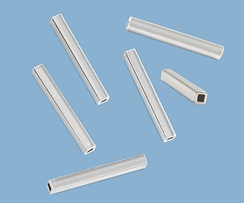 WireJewelry Sterling Silver Straight Tube Square 1.7x14 Mm - Pack Of 5