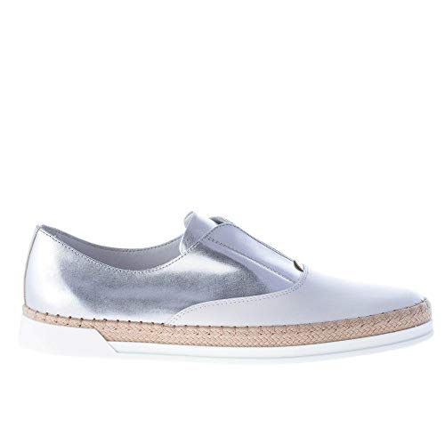 on Shoes Woven Slip White And Women Oxford Rope Silver Metallic Tod's Leather A8vxSv