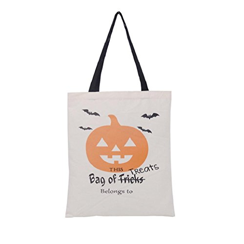 (Elevin(TM)2017 Halloween Candy Bag Canvas Tote Gift Bag Shopping Bag Handbag Storage Candy Trick or Treat Bag Travel Bag (B,)