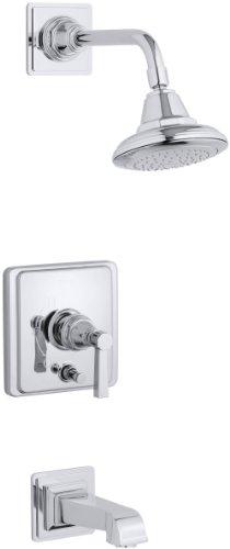 KOHLER K-T13133-4A-CP Pinstripe Pure Rite-Temp Pressure-Balancing Bath and Shower Faucet Trim, Polished Chrome