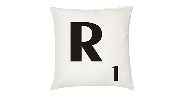 Cojines con la Letra R imitación fichas de Scrabble o apalabrados. Medida 45X45 cm. Color Blanco. Solo Funda: Amazon.es: Hogar