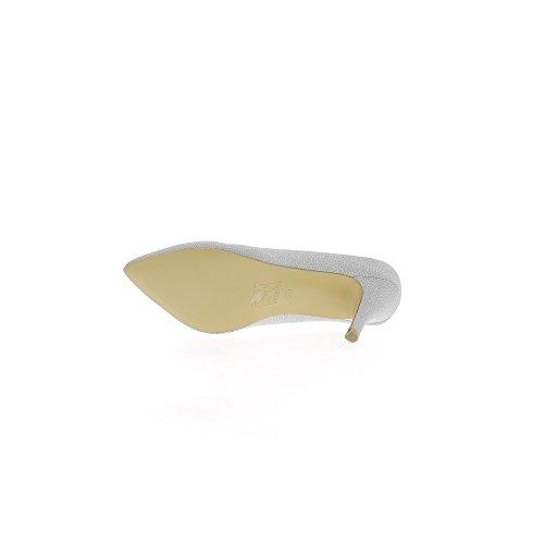 Escarpins pointus grande taille gris pailleté à talon de 9,5cm