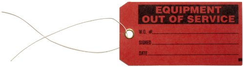 "Brady 86756 5-3/4"" Height, 3"" Width, B-853 Cardstock, Black On Red Color Production Status Tag, Legend ""Equipment Out Of Service, W.S.Number/Signed/Date"" (Pack Of 100)"