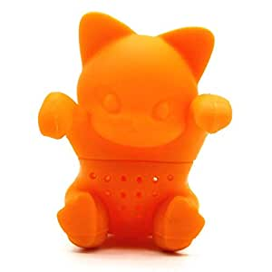 Cartoon Kitten Tea Strainer Silicone Cute Cat Tea Infuser Orange Tea Tools