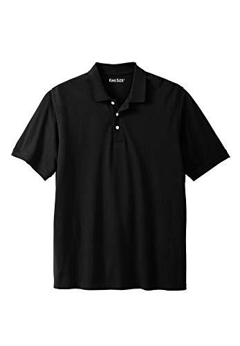 KingSize Men's Big & Tall Solid Pique Polo Shirt, Black Big-5XL