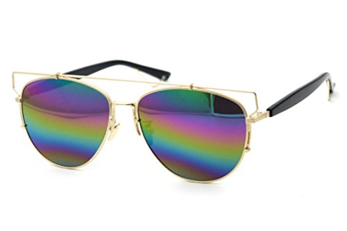 Flowertree Unisex S6802 Metal Cutout Browline Aviator 60mm Sunglasses (rainbow)