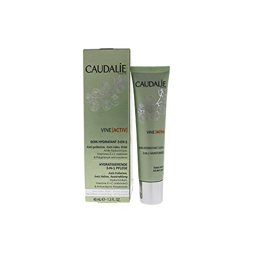 CaudalÍe Vine[activ] 3-in-1 Daily Face Moisturizer. Anti-Pollution, Anti-Wrinkle, Healthy Glow. Morning and Night Hydration Cream for Women (1.3 oz / 40 mL)