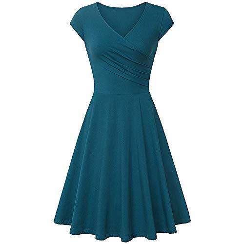 Dresses for Women Chaofanjiancai Summer Cross V- Neck Cap Sleeve Dress Vintage Elegant Flared A-Line Dress (S, Green02) ()