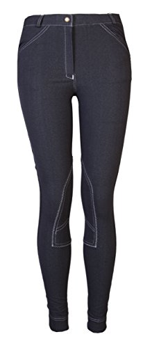 GS Equestrian GL001 Ladies Womens Jodhpurs Breeches Jods (Denim/White, 36)