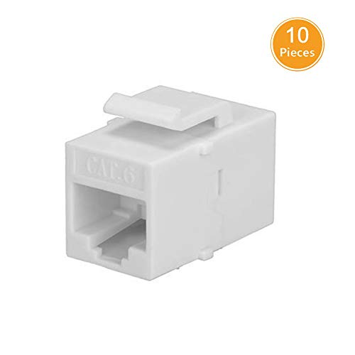 10-PACK CAT6 RJ45 Keystone Jack Female Coupler Insert Snap-in Connector Socket Adapter Port For Wall Plate Outlet Panel - White