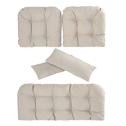 Deep Seating Settee - Art Leon Outdoor/Indoor Home Chair Seat Cushions 5 Pieces Seat and Back Cushion Set for Patio Deep Seat,Wicker Loveseat,Settee,Bench(Offwhite)