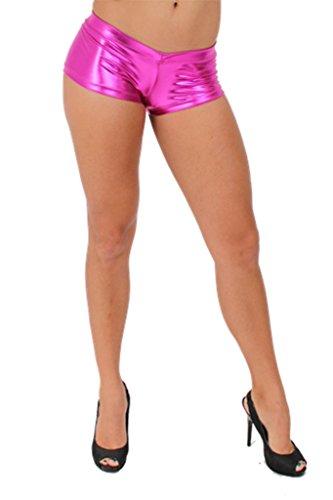 [Women's Metallic Shorts Liquid Wet Sexy Hot: HOT PINK (Large)] (Biker Babe Sexy Costumes)