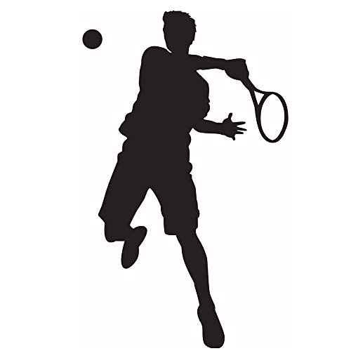 DNVEN 25 inches x 41 inches Sports Theme Sports Man Tennis Player Silhouette Vinyl Wall Decals Teens Boys Room Playroom Wall Stickers ()