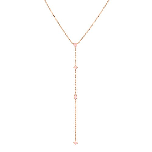 PAVOI 14K Rose Gold Plated Lariat Necklace Pendant with Created Pink Opal Necklace for Women Lariat White Gold Necklace