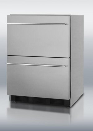 SP6DS-2D 24'' Double Drawer Refrigerator with Fan Cooled Compressor Adjustable Thermostat Rapid Chill Compartment and Convertible to Custom Panels: Stainless by Summit (Image #1)
