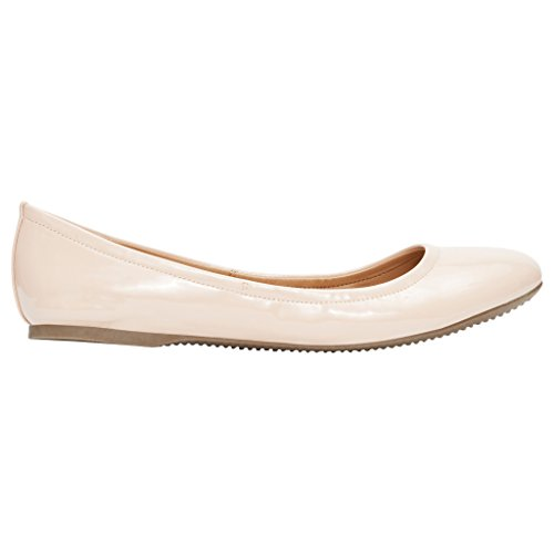 Rohb by Joyce Azria Corsica Round Toe Ballerina Flat (Nude Pu) Size 8.5