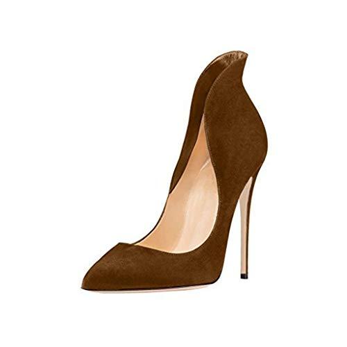 Simples Bout Surround Stiletto Soirée Banquet Talon Confortable Femmes Chaussures Fermé Cheville Chaussures Brown De Pointé qBIawI