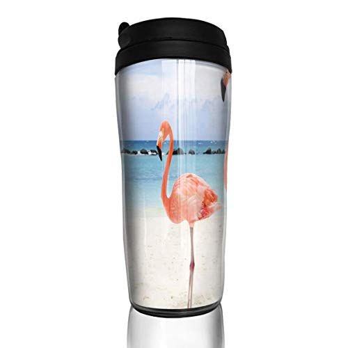Bei Tang Coffee Cup Flamingos Travel Tumbler Insulated Leak Proof Drink Containers Holder Personalized 12 Ounces