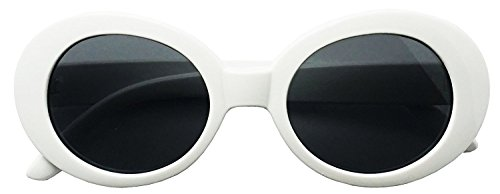 Rock Star Retro Fashion Thick Round Frame Sunglasses (White, - Alien Sunglasses Shades