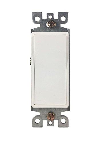 BYBON 15A Single Pole Decorative light Switch,White,UL Listed (10 (15a Single Pole Switch)