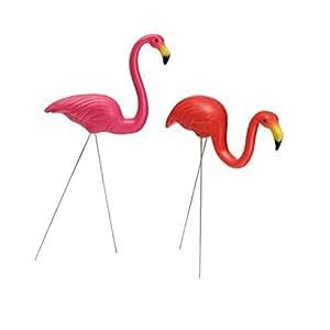 sharplace par de rosa y rojo figura Flamingo césped jardín pradera adorno decoración # 2
