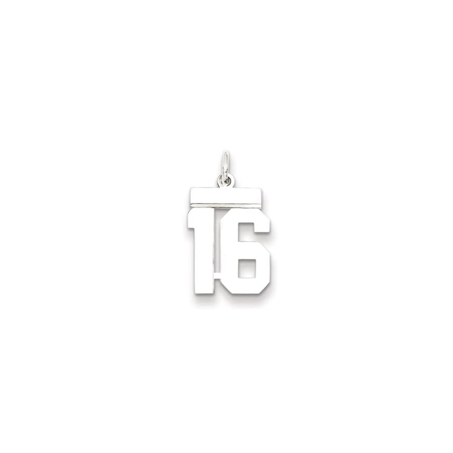 Sterling Silver, Athletic Collection, Small Polished Number 16 Pendant