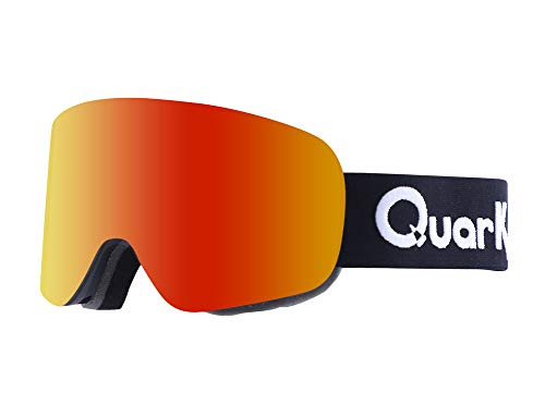 Quark Air Single Pane Lens Snow Goggles - Cylinderical - Unisex for Adults (Fire Red Mirror, Cat S3 Smoke Base)