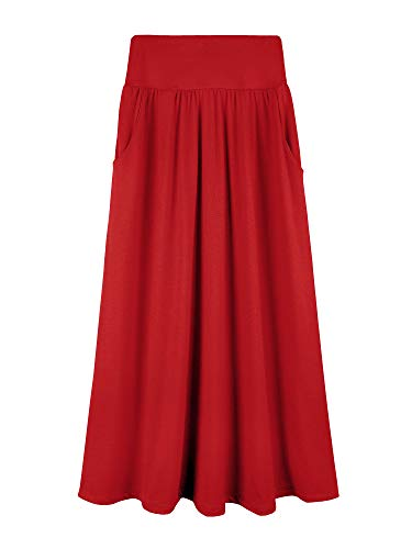 Girls 7-16 Years Rayon Solid Maxi Skirt with Pockets (Medium, Red)