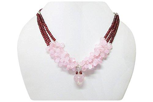 Rose quartz & Garnet designer beads necklace finished with Sterling silver findings (Garnet Rose Quartz Necklace)