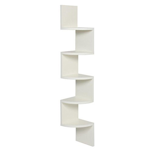 Corner Wall Shelf,ZYooh Stackable 5 Tiers Corner Wall Shelf Zig Zag Hanging Wall Shelves corner shelves Hanging Corner Storage (White)