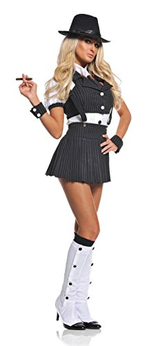 1920 Gangster Costumes Female (Underwraps Costumes  Women's Sexy Gangster Costume - Miss Mob, Black/White, Small)