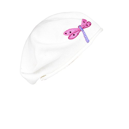 White Cotton Ladies Beret with Sequin Dragonfly