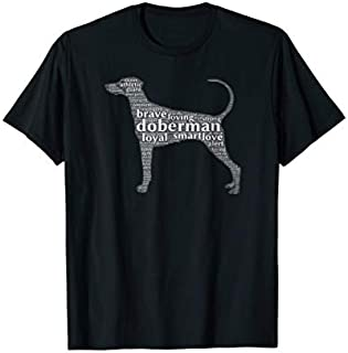 Great GiftDoberman with a Natural Ears & Long Tail Word Cloud Love Funny TShirt