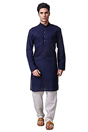 8dad5f39e4 Adorro Designer Ruby Silk Regular Fit, Set Of Kurta Pajama For Men - Dark  Blue