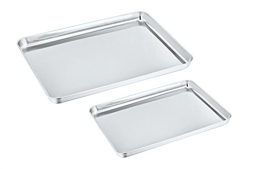 Baking Sheet Set of 2, P&P Chef Stainless Steel Baking Pan Toaster Oven Pans, Non Toxic & Healthy, Easy Clean & Dishwasher Safe, Rectangle Shape & Deep Rim