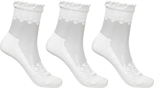 (3 Pairs Women's Ultrathin Transparent Lace Elastic Short Socks,White)