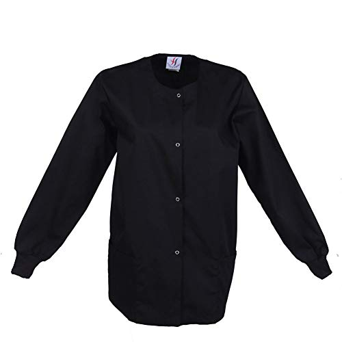 (MEDICLE SCRUBS Women' s Scrub Warm up Jacket Snap Round Neck Jacket for Professionals Black)