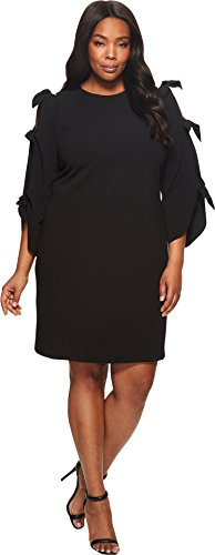 Vince Camuto Specialty Size Womens Plus Size Tie Bell Sleeve Crepe Ponte Dress Rich Black 3X (US 22W-24W) One Size