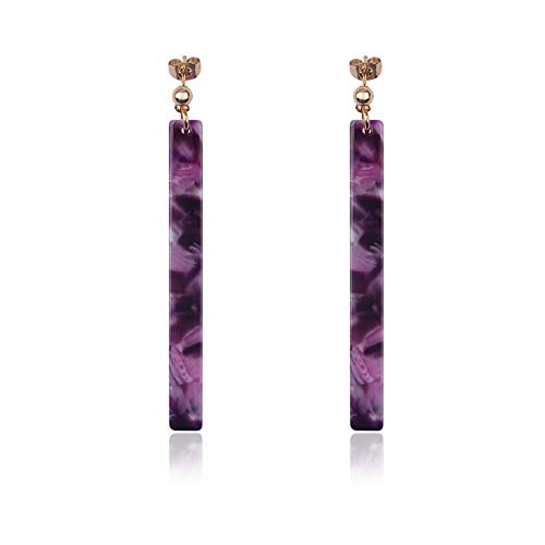 Acrylic Resin Dangle Earrings for Women and Girls Shell Hoop with Floral Tortoise Leopard Lightweight Traingle Long Bar (purple long)