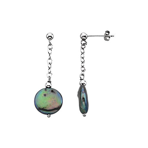 13mm Black Coin - Sterling Silver Freshwater Cultured Black Coin Pearl Earrings 12-13mm