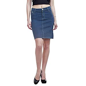 PepTrends Women's One Button Denim Skirt