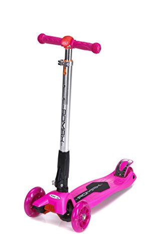 ROMAX Scooter for kids (Pink), 3 wheels Kick Glider with Adjustable Height for Children, LED light in Front, Mini Scooter Non-Slippery Platform for Boys and Girls. Children Age 3-12 Years Old.