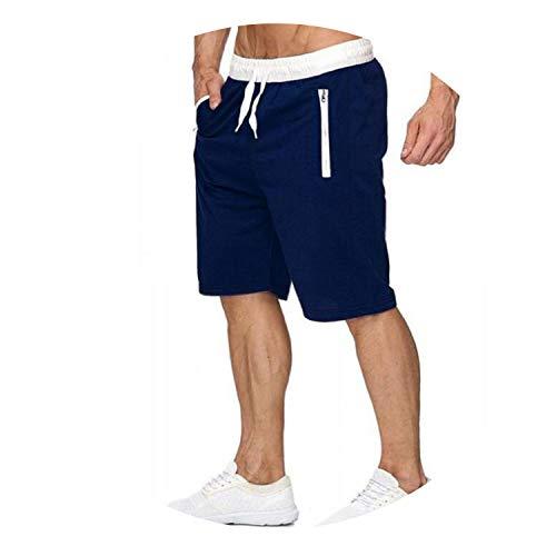 Madras Bermuda - Dendrobium Summer Leisure Men Knee Length Shorts Color Patchwork Joggers Short Sweatpants Man Bermuda Shorts,Navy Blue,XXL