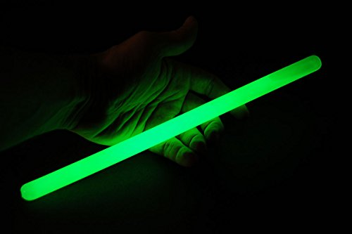 Set of 6 12inch 15mm Grande GREEN 12 Hour Safety Glow Sticks