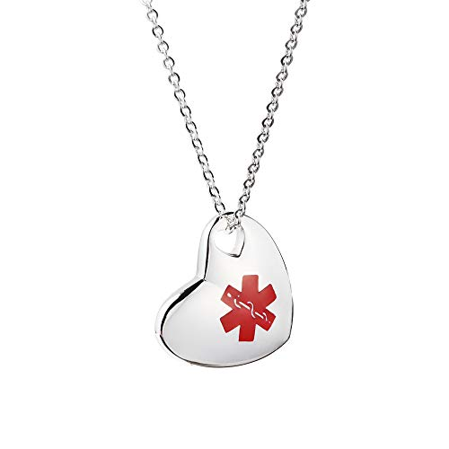 linnalove Stainless Steel Not Allergic Heart Charm Medical Alert id Necklace Charms for Women & Girl-Free Engraving(SS) ()