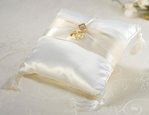 Gold Ring Bearer Pillow - Ivory Diamonds Ring Bearer Pillow
