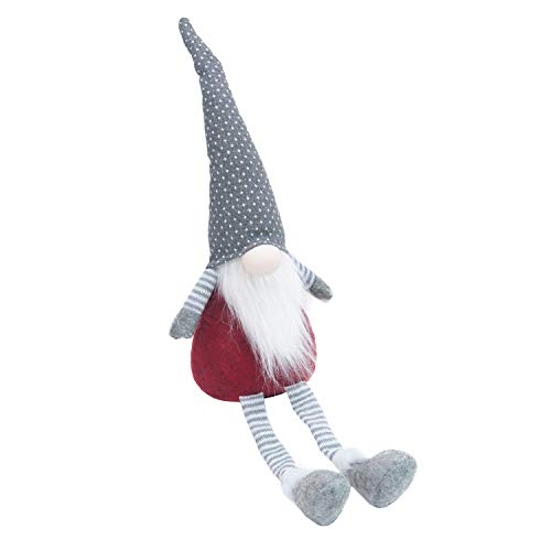 GMOEGEFT Swedish Elf Gnome, Scandinavian Tomte Santa Sitting Plush Figurines for Home Decoration, Christmas Holiday Birthday Gift 17 Inches, Pack of 1 (Grey with White Dots Sit)