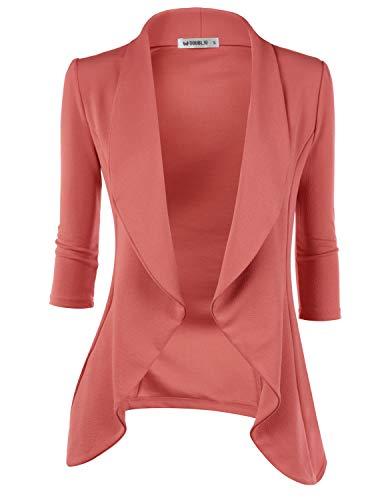 Doublju Womens Lightweight Classic Draped Open Front Blazer with Plus Size DARKMAUVE Medium ()