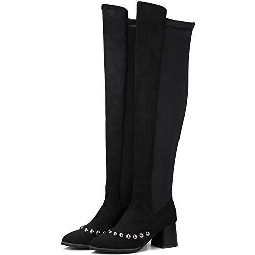Noir Sexy Taoffen Cavalier Cuissarde warm Mode Femmes Bottes Souple Chaussures XqwAZq8